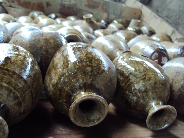 Bottles made by the Japanese students and fired in the Anagama kiln
