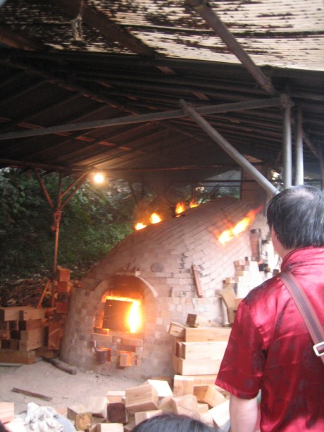 Anagama kiln firing, one of two vast kilns fired by ISCAEE students
