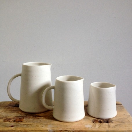 Chalk cream jugs by Elaine Bolt