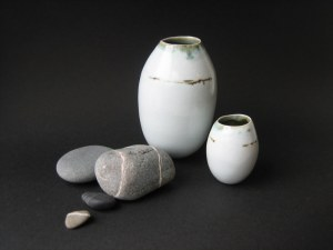 Elaine Bolt, 'Dwelling' vessels - group of two with pebbles