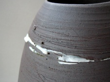 Elaine Bolt dark terracotta vessel detail