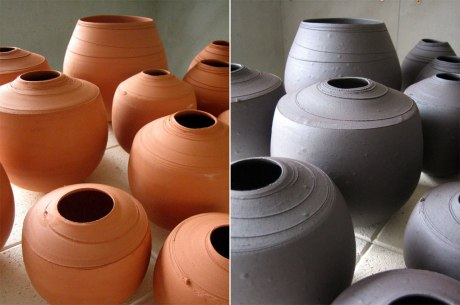 Elaine Bolt ceramics, terracotta in reduction