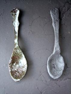 Elaine Bolt teaspoons - stoneware and terracotta