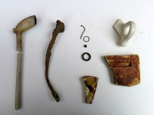 clay pipe, nail, pins, ceramics
