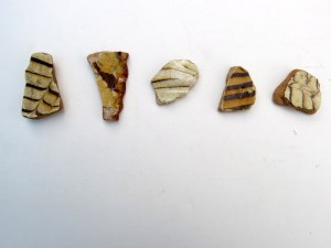 feathered glazed pottery sherds