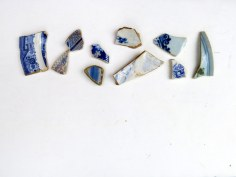blue pottery sherds