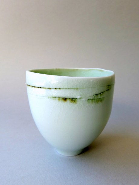 Elaine Bolt - Green crackle teabowl