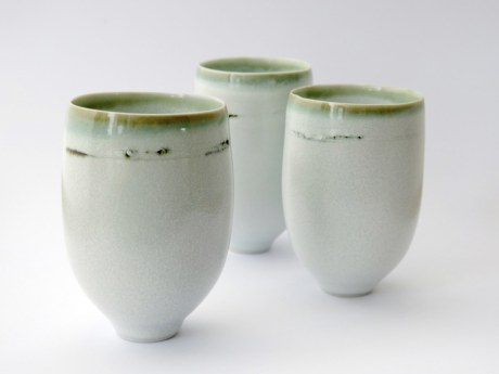 Elaine Bolt - White speckle & green glaze teabowls