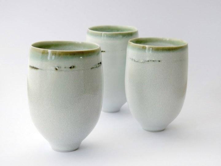 Elaine Bolt - White speckle & green glaze teabowls