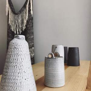 Warp and Weft vessels by Elaine Bolt Ceramics - vessels with Imogen Di Sapia blanket