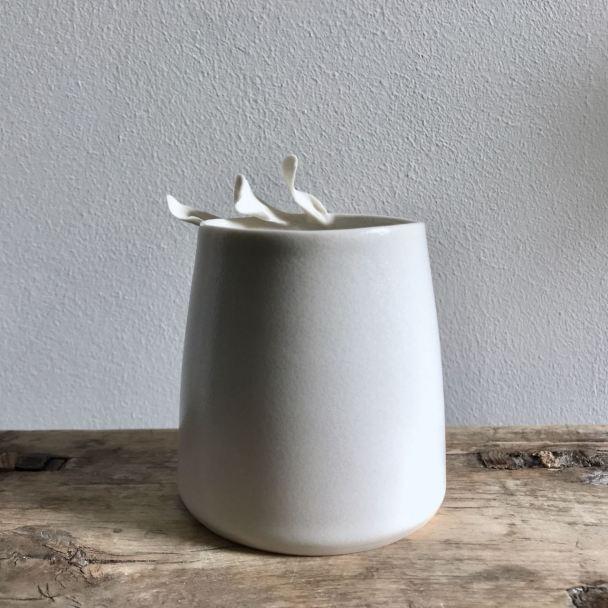 Porcelain Leaf vessel by Elaine Bolt