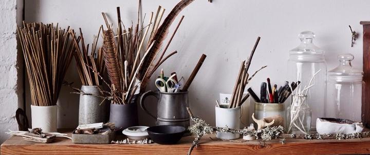Elaine Bolt's studio shelf